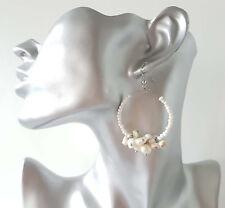 """1 pair of Pretty ivory & pearl colour beaded hoop drop earrings, 2"""" / 5cm"""