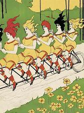 Cultural Caricatura Lady Bicicleta tándem Cabello Pedal de arte cartel impresión bb646a