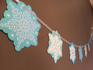 Frozen Themed Birthday Party Supplies Snowflake Paper Banner Christmas Winter 2M