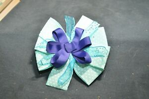 Blue and White Polka Dot  Hairbow
