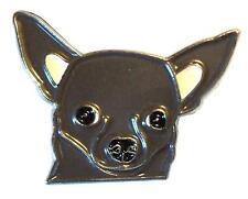 Chihuahua COLORE GRIGIO CANE METALLO SMALTO SPILLA BADGE 26mm NUOVO