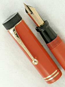 """VINTAGE 1920s PARKER LUCKY CURVE DUOFOLD SR. """"BIG RED"""" FOUNTAIN PEN ~ RESTORED!"""