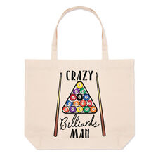 Crazy Billiards Man Large Beach Tote Bag - Funny
