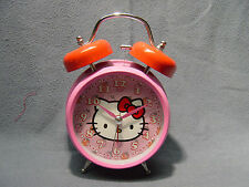 HELLO KITTY TWIN BELL BATTERY ALARM CLOCK PINK & RED NEW IN BOX LOUD BELL