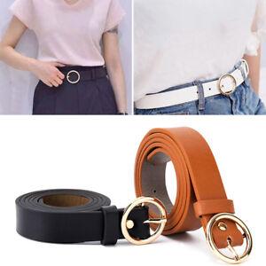 Boho Women Lady Vintage Metal Leather Round Buckle Waist Belt Waistband B.BI