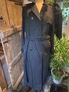 AQUASCUTUM LADIES BLACK TRENCH COAT Size 14 long
