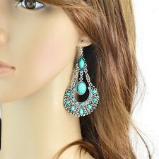 Retro Style Green Gemstone Partywear Indian Fashion Drop Dangle Fashion Earrings