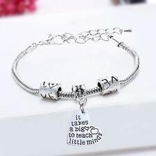 Lovely Silver Tone Teacher It Takes a big Heart To Teach Charm Bracelet. ...