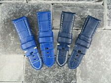 New 24mm Deployment Strap Grain Leather Watch Band for fits PANERAI Blue x1