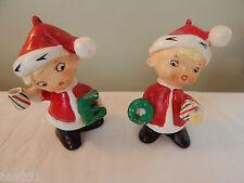 2 Vintage Japan NOEL Santa Elves Stripped Cup Figures