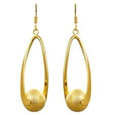 Elegant 18k 18ct Yellow Gold Filled Solid GF Ball Dangle Earrings E649