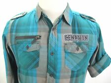 JOHN CENA BOYS YOUTH SZ XL CENANATION NEVER GIVE UP BUTTON FRONT PLAID SHIRT WWE