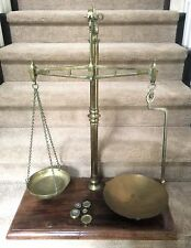 W & T Avery Agate Brass Balance Beam Scales Wood Base 61848 Large Weights