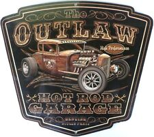 THE OUTLAW HOT ROD GARAGE GENUINE STOLEN PARTS,  Metal tin Sign