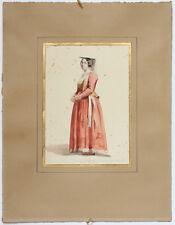 AQUARELLE ITALIE FEMME DE NETTUNO CAMPAGNE DE ROME Circa 1850