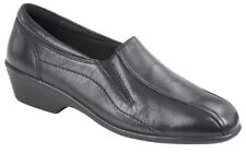 Mod Comfys Womens Ladies Softie Leather OFFICE Casual Wedge Heel Loafers Black UK 6