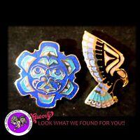 First Nation Haida 'SUN- EAGLE PIN' CLIP blue gold Pair Enamel Cloisonne