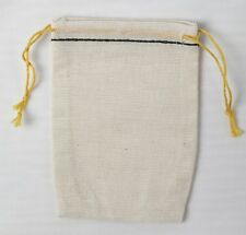 500 Mini Cotton Muslin Black Hem and Yellow double Drawstring Bags