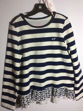 NWT Vineyard Vines Girls Blue and Off White Etched Whale RuffleTop Sz 7-8