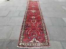 Old Traditional Hand Made Persian Oriental Red Wool Long Narrow Runner 389x90cm