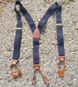 Navy Blue Elastic Mens Y Back Suspenders Cognac Brown Leather Tabs Police Braces