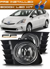 2012-2014 Toyota Prius V LED Fog Light Clear Bulb+Harness+Relay+Switch Full Kit
