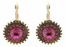 Zest Swarovski Crystal Drop Earrings for Pierced Ears Leverback Clasps Hot Pink