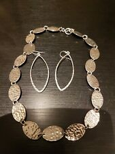 Solid Sliver Necklace And Earring Set