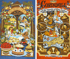 Vintage Cornwall Cornish Cream King Arthur Cloth Towel vista 1982 1981 Britain