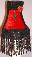 DIVINE GOTHIC BESPOKE CLIP ON LAMPSHADE IN RED  & BLACK UNIQUE