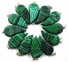 12PCS 30x16x6mm green malachite carved wing pendant bead Vk5498