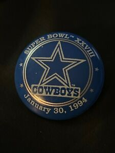 Vtg DALLAS COWBOYS Super Bowl 28 XXVIII Pin 1994 Champion Commemorative Football