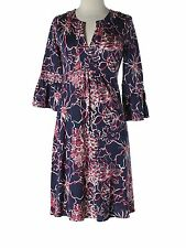 Women Lilly Pulitzer Twyla Navy Blue Bell Sleeve Jersey Dress Lines and Vines XS