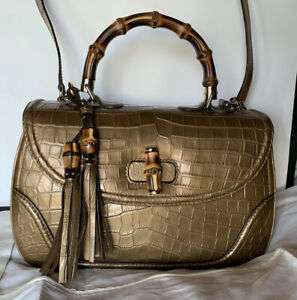 Gucci Crocco Bag25488B 467891 Golden Crocodile Leather Bamboo Top Handle Satchel