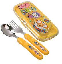 Korean Tv Anime Little Penguin Pororo Spoon Fork Case Set Kids Cutlery Utensils