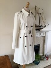 Hobbs Off White , Ecru Classic Belted Trench Coat , Size 12, Excellent