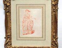 French Old Master Drawing After Nicolas Lancret Sanguine Woman Fashion Fashion