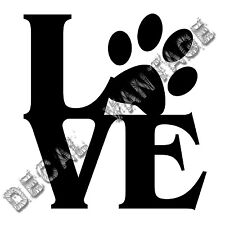 Love Paw Vinyl Sticker Decal Pawprint Pets Adopt - Choose Size & Color