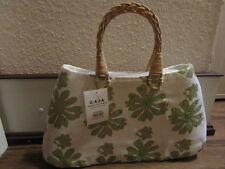 Handtasche Weiß mit grünen Blumen Stoff Jutte Stabil Groß 2 Henkel