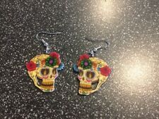 Halloween Day of the Dead Skull with Flowers Pierced Dangle Earrings NEW!