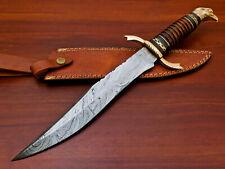 Rody Stan HANDMADE DAMASCUS CUSTOM ROSE WOOD & PAKKA WOOD BOWIE HUNTING KNIFE