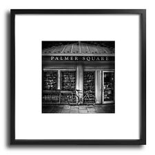 Bike At Palmer Square Book Store 21x21 Framed BW Fine Art Print Slim Black Frame