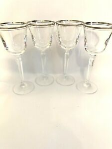 Mikasa Crystal  Briarcliffe Double Silver Rim Wine Glass Goblet Set of 4