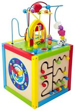 Activity Cube Wood Toddlers Learning Toy Puzzle Bead Maze Play Animals Kids Fun