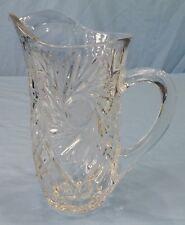 Lead Crystal Cut Glass Pitcher Pinwheel with Brunswick HobStar