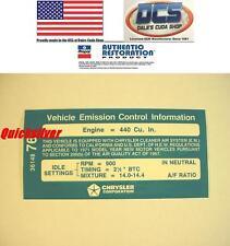 1971 Dodge Plymouth 440 4bbl Auto Transmission Emissions Decal 3614876 MoPar
