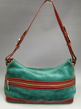 Maxx New York handbag teal green suede brown leather hobo purse
