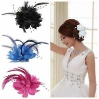 Popular Pearl Corsage Hair Clip Flower Fascinator Feather Hairpin Party Wedding