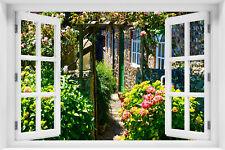 Wandillusion Wandbild FOTOTAPETE Fensterblick Natur Blumen PVC/VLIES - kr-116