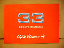 Alfa Romeo 33 1990 to 1994 Owners Manual Handbook in French - Francais 100 pages